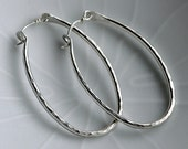 Handmade Textured Pure Silver Hoops