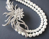 Bridal Necklace Pearl Wedding Jewelry Wedding Necklace Crystal Bridal Jewelry Double Strand Gift Ideas