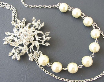 Flower Bridal Necklace Bridesmaid Necklace Bridal Jewelry Silver Statement Necklace Pearl Wedding Jewelry Flower Necklace Bridesmaid Gift