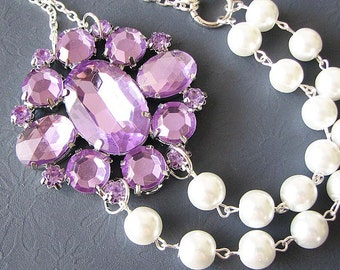 Statement Necklace Bridal Jewelry Purple Necklace Wedding Jewelry Bib Necklace Bridesmaid Jewelry Gift For Her
