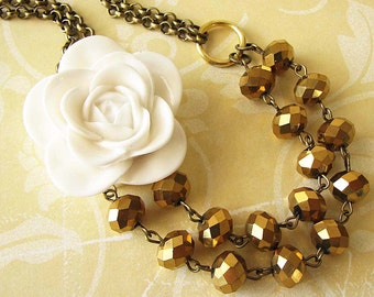 Statement Necklace Gold Crystal Necklace Bridesmaid Jewelry Flower Necklace Bib Necklace Bride Gift