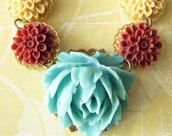 Statement Necklace Turquoise Jewelry Flower Necklace Colorful Jewelry Rose Necklace Bib Necklace Single Strand