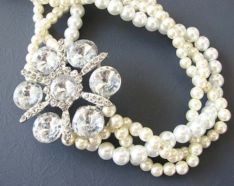 Wedding Jewelry Twisted Pearl Necklace Bridal Jewelry Statement Wedding Necklace Flower Necklace Rhinestone Necklace