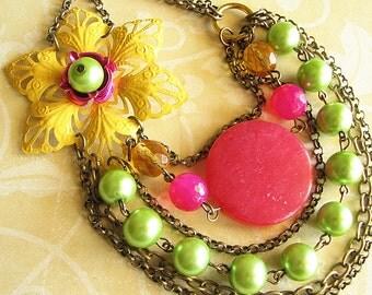 Statement Necklace Yellow Jewelry Flower Necklace Lime Green Jewelry Bib Necklace Fuchsia Multi Strand