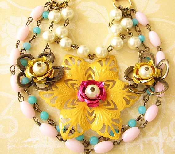 Statement Necklace Bib Necklace Yellow Necklace Enamel Jewelry Flower Necklace Chunky Necklace Multi Strand