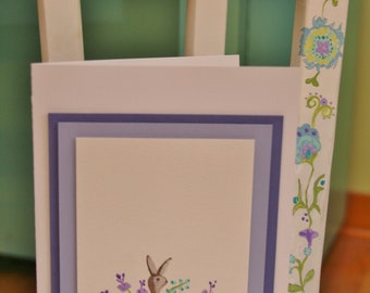 Hand Painted Bunny Easter Card Ready to be Personalized with child's monogram or first name