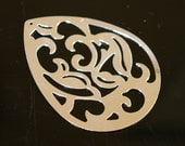 10 pcs - Silver - Boho fancy cut filigree stamping lace pendant teardrop