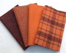 "Hand Dyed Wool Felt, PUMPKIN , Four 6.5"" x 16"" pieces in Rich, Warm Oranges"