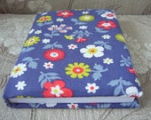 Blue Floral Fabric Covered A6 Notebook. Padded Cover, 192 lined pages. Vintage Fabric Item.