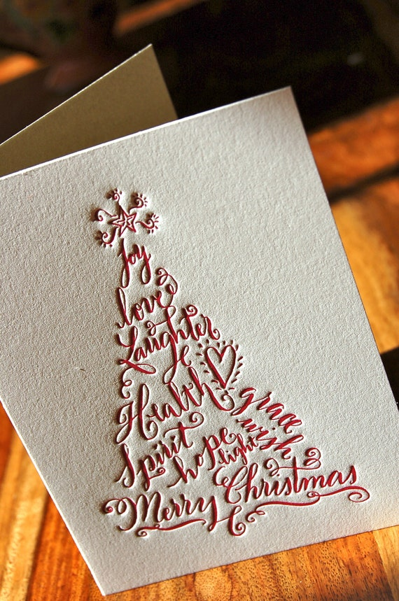 Christmas Cards Letterpress set of 50 bulk Holiday Tree