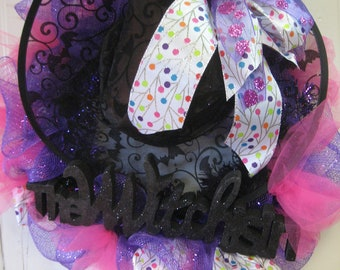 deco mesh and multi colored polka dot ribbon wreath- Halloween wreath