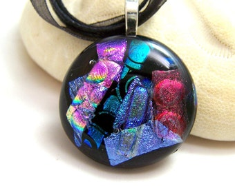 Blue Magenta  DICHROIC Pendant-Focal- Fused Glass- One of a Kind Made in New York