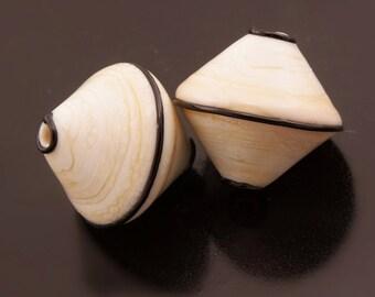 SRA Lampwork Beads Handmade Black Ivory Cream Bicones Bead Pair Heather Behrendt BHV LETeam