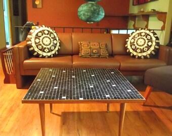 50s Coffee Table Mid Century Modern Tile Table Minimalist Black White Wood