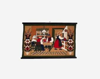 Christmas Wall Hanging / Vintage Swedish 60s Holiday Textile Art / Print on Burlap