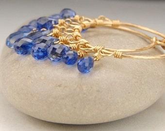 Kyanite earrings, gold hoop earrings, gold chandelier earrings, handmade wire wrapped jewelry, blue earrings, secure leverback earrings