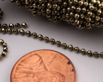 Raw Brass facet BALL Chain - 32 ft. spool of Bulk Ball chain Necklace Bracelet Wholesale - 1.5mm w/ FREE 10 connectors (Insert)