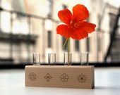 Edible Flower Heirloom Seed Kit with Wooden Block and Vials