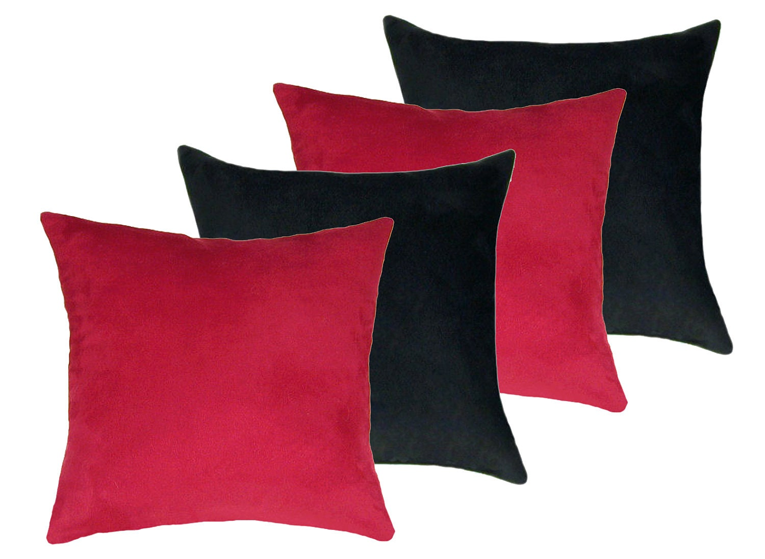 Faux Suede Decorative Pillow Red and Black by LandofPillowsDotCom