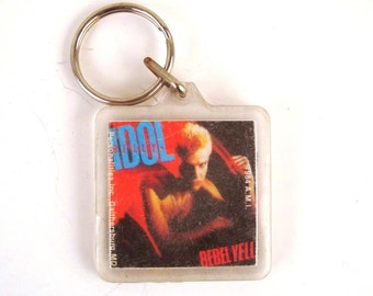 Keychain Vintage 1983 Billy Idol Rebel Yell Plastic Key Chain