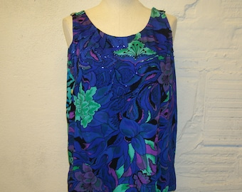 Beaded Rayon Tank top Vintage 1980s Floral