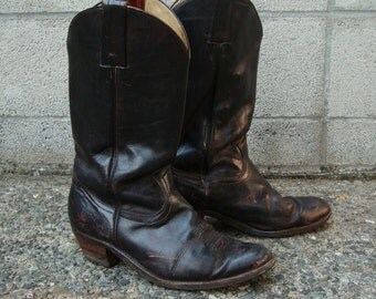 Frye Cowboy Boots Distressed Vintage 1980s Black Brown Mens 10 1/2 D