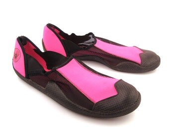 Aqua Sox Shoes Vintage 1980s Hot Pink and Black Summer Men's size XL
