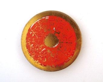 Belt Buckle Vintage 1970s Brass Enamel Life Saver