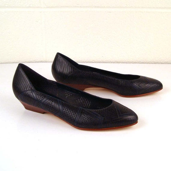 Navy Leather Flats Vintage 1980s Navy Leather Wedges Women's size 7