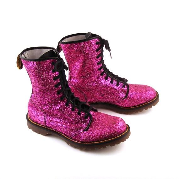 Glitter Doc Martens Vintage 1990 Magenta Pink Glitter Doc Martens Boots UK Size 9