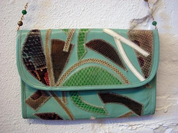 Vintage 1980s Varon Patchwork Green Purse