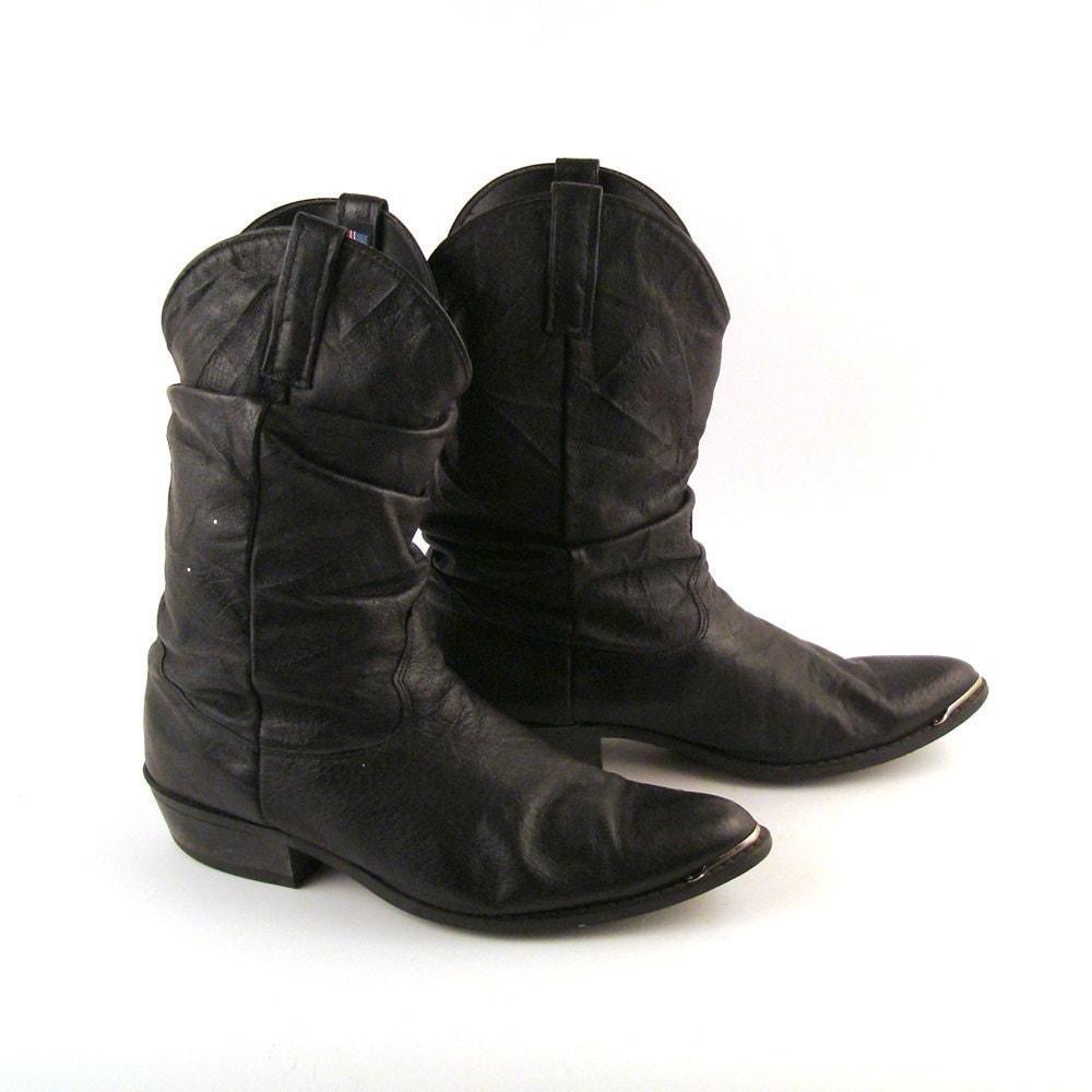 s cowboy boots vintage 1980s black dingo slouch size