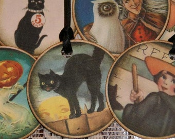 Vintage Halloween Tags - One Dozen Spooky Witches Owls Black Cats Skeletons Pumpkins