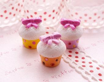 Ribbon Dotted Cupcake Decoden Fake Sweets 6pcs
