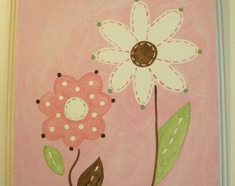 "Baby nursery decor Children wall art Nursery art paintings Kids girls room decor Nursery 11 x 14 pink green brown ""daisy duo"""