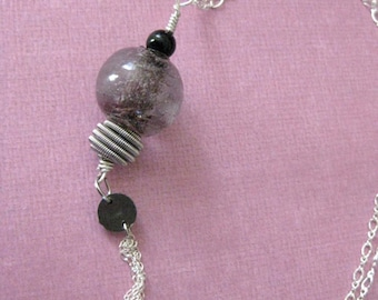 Purple Glass Tassel Pendent Necklace