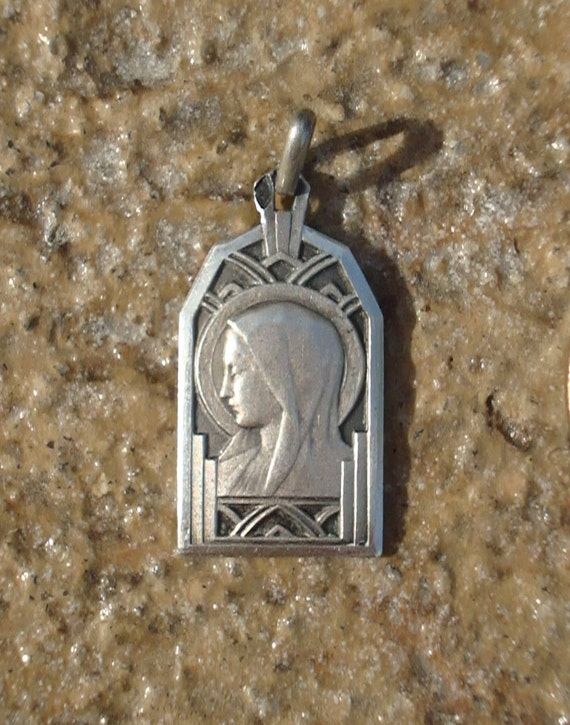 Art Deco Antique French Vintage Sterling Silver Holy Virgin Mother Mary Religious Medal Pendant