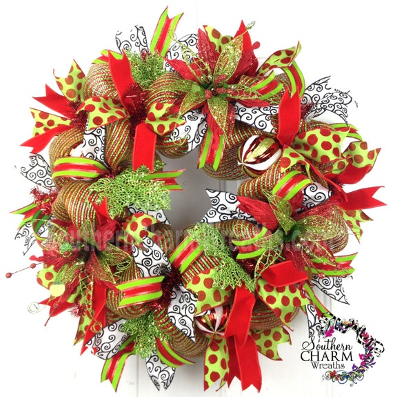 Deco Mesh Christmas Poinsettia Wreath For Door Or Wall Red