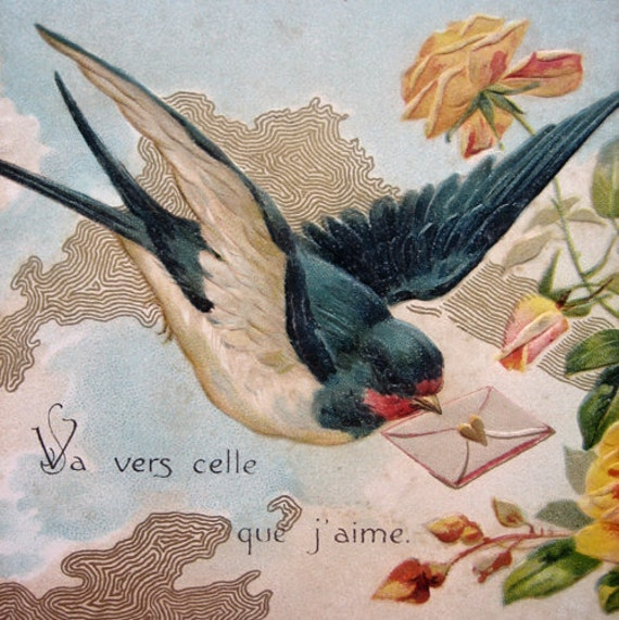 Antique swallow postcard, embossed, French, 1900s