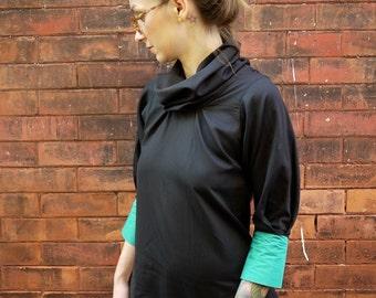 Black Cowl Neck Shirt | Shirt with Cuffs | Blouse | Womens Turtleneck | Long Sleeve Shirt | Dress Shirt | Sexy Shirt | Fall Fashion Womens