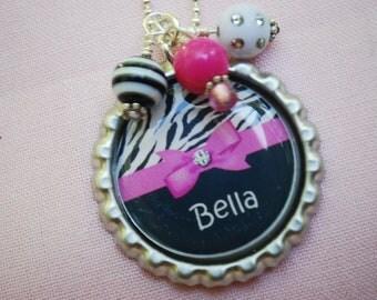 Girls Personalized Necklace Bottlecap Pendant Necklace - Hot Pink Zebra