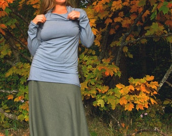 Cowl Neck Shirt (Soy or Bamboo Organic Cotton) - Organic Clothing Made to Order - Many Colors to Choose From