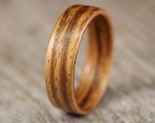 Zebrawood (Straight Grain) Bentwood Ring - Handcrafted Wooden Ring
