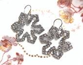 Sparkly Glass Rhinestone Snowflake Charm Earrings Silver Tone
