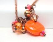 Orange solid blowglass fringe pendant long necklace with antique copper chain