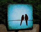 Custom Order for LauraJCT - Love Birds in a Turquoise Sky Painting