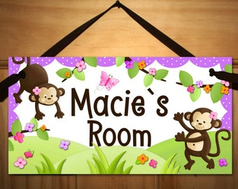 Girly Monkey Pink Purple Brown DOOR SIGN Wall Art DS0132