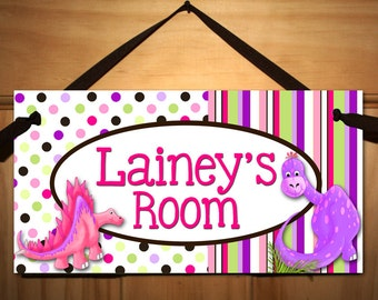 Fun Polka Dot Girly Dinosaur DOOR SIGN Boys Bedroom Nursery Wall Art Decor DS0396