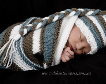 Photography Prop Knitting Pattern -- Photography Cocoon/Sock with matching hat -- Instant Download -- permission granted to sell on Etsy