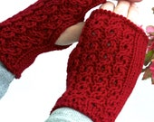 Gloves, Fingerless Gloves in Red, Mittens, Hand Warmers, Red Gloves